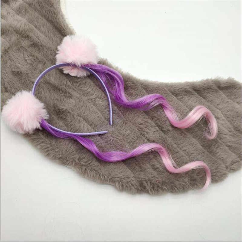 Meisje Paardenstaart Eenhoorn Pompom Hoofdbanden Glitter Oren Cute Kids Meisjes Prinses Vlecht Pruik Haarbanden Haar Accessoires