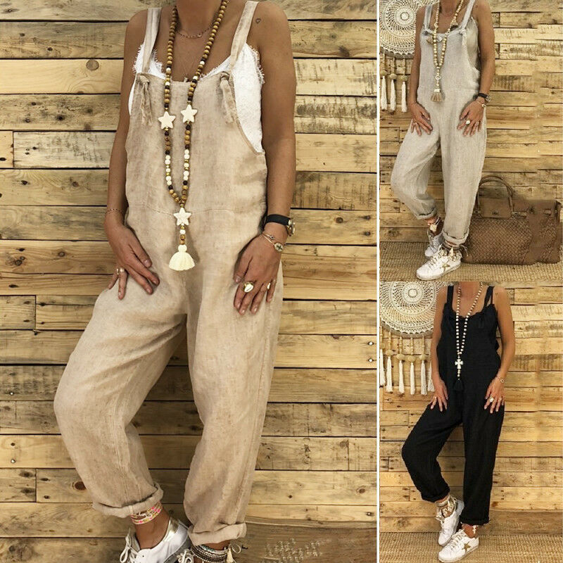 Women Jumpsuit Summer Romper Loose Dungarees Harem Strap Pants Loose Jumpsuit Baggy Trousers Casual Overalls Ladies