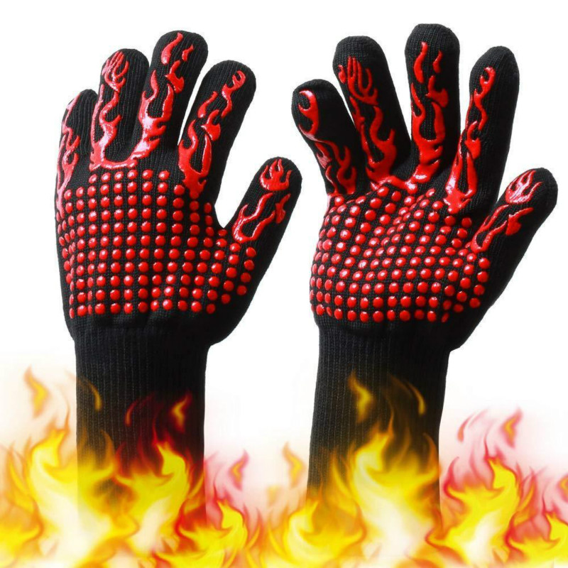 Oven-Gloves Mittens Baking Barbecue Heat-Resistant Kitchen Silicone Dish Thick Bbq-Grill