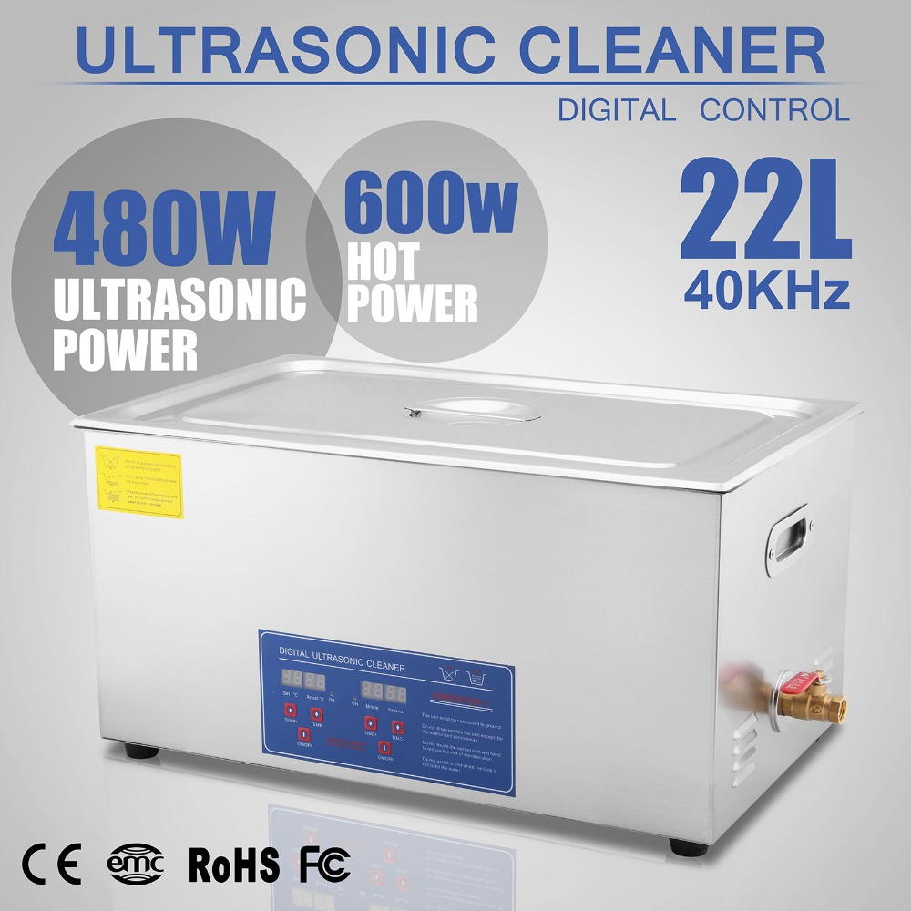 Free Shipping To EU 22L ULTRASONIC CLEANER SKIDPROOF FEET STAINLESS STEEL BASKET SYSTEM