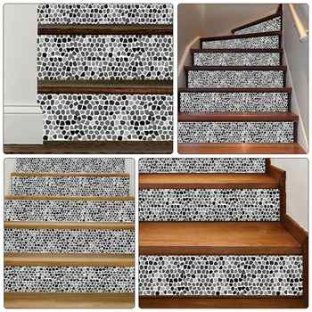 6Pcs 100x18cm Waterproof Stickers Stylish Stair Decals For Step Floor Home Stylish Stairs Stickers Creative Hallway Stickers
