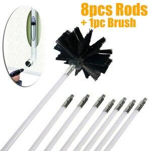 Image 1 - Flessibile 8pcs Rods Con 1pc Testa della Spazzola Camino Cleaner Sweep Rotante Caminetti Parete Interna di Pulizia Pulitore di Spazzola Camini di accesso