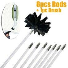 Varillas flexibles de 8 Uds con 1 unidad de cabezal de cepillo limpiador de chimenea barrido giratorio chimeneas cepillo para limpieza de pared interior limpiador de chimeneas acceso