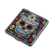 Cigarette Case Metal Skull Head Ghost Creative Leather Box  Anti-pressure Accessories Hot Sale