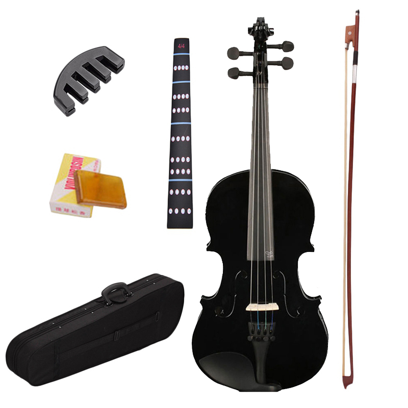 4/4 Full Size Black Acoustic Violin Fiddle with Case Bow Rosin Mute Stickers