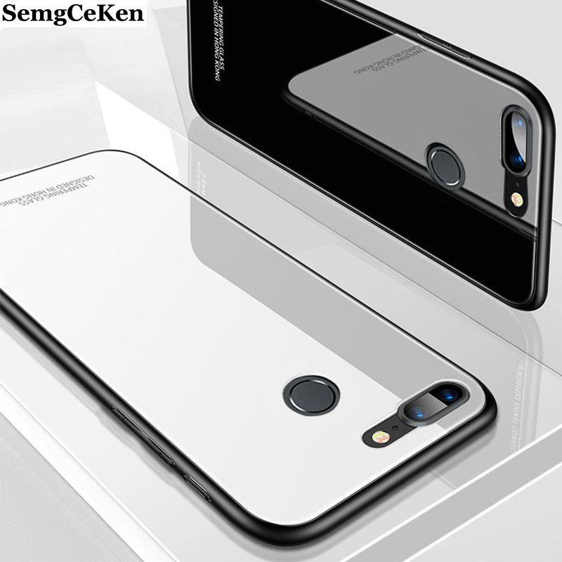 SemgCeKen hard mirror glass <font><b>case</b></font> for <font><b>oppo</b></font> F1s <font><b>F1</b></font> F3 F5 F7 F9 F11 pro plus luxury original silicone silicon back <font><b>phone</b></font> cover etui image