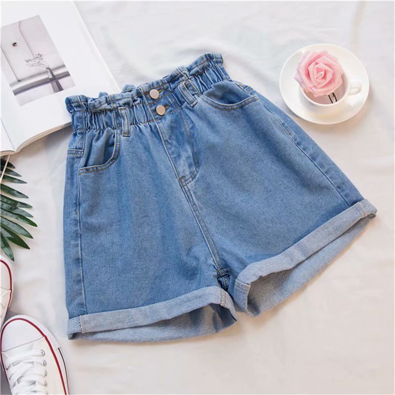 Pockets Button Women Denim Shorts Plus Size 5XL Black Harem Ruffle Casual Shorts Summer High Waisted Elastic Hot Bottom Female