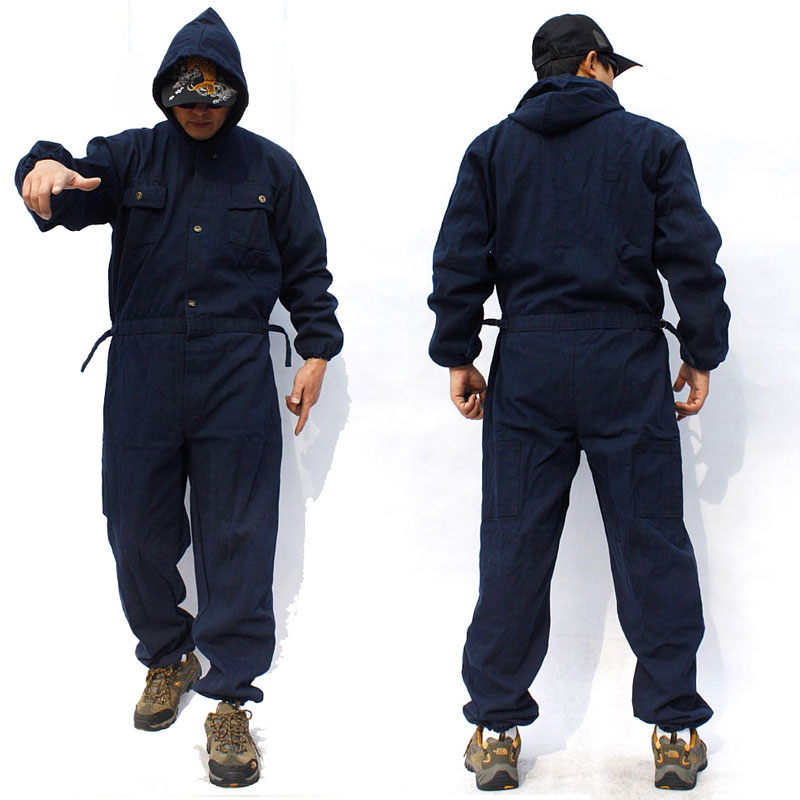 Men's Casual Jumpsuit Men's Outdoor Hooded Overalls Loose Large Size Sturdy Workwear Dark Blue Jeans