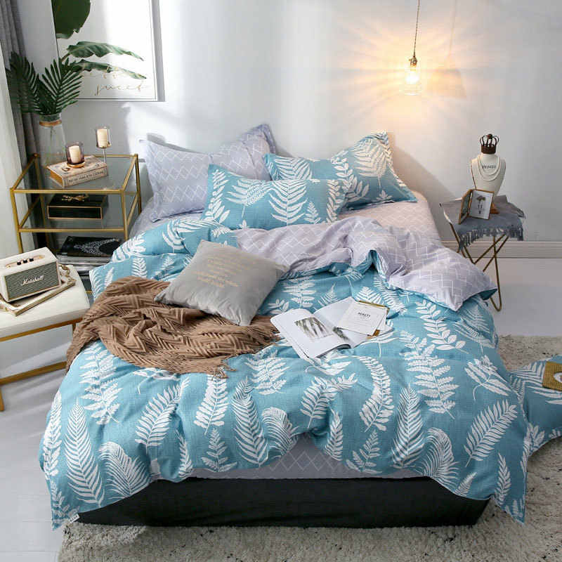 Leaf Nordic Plaids Geometric 4pcs Bed Cover Set Cartoon Duvet Cover Bed Sheets And Pillowcases Comforter Bedding Set 2TJ-61001