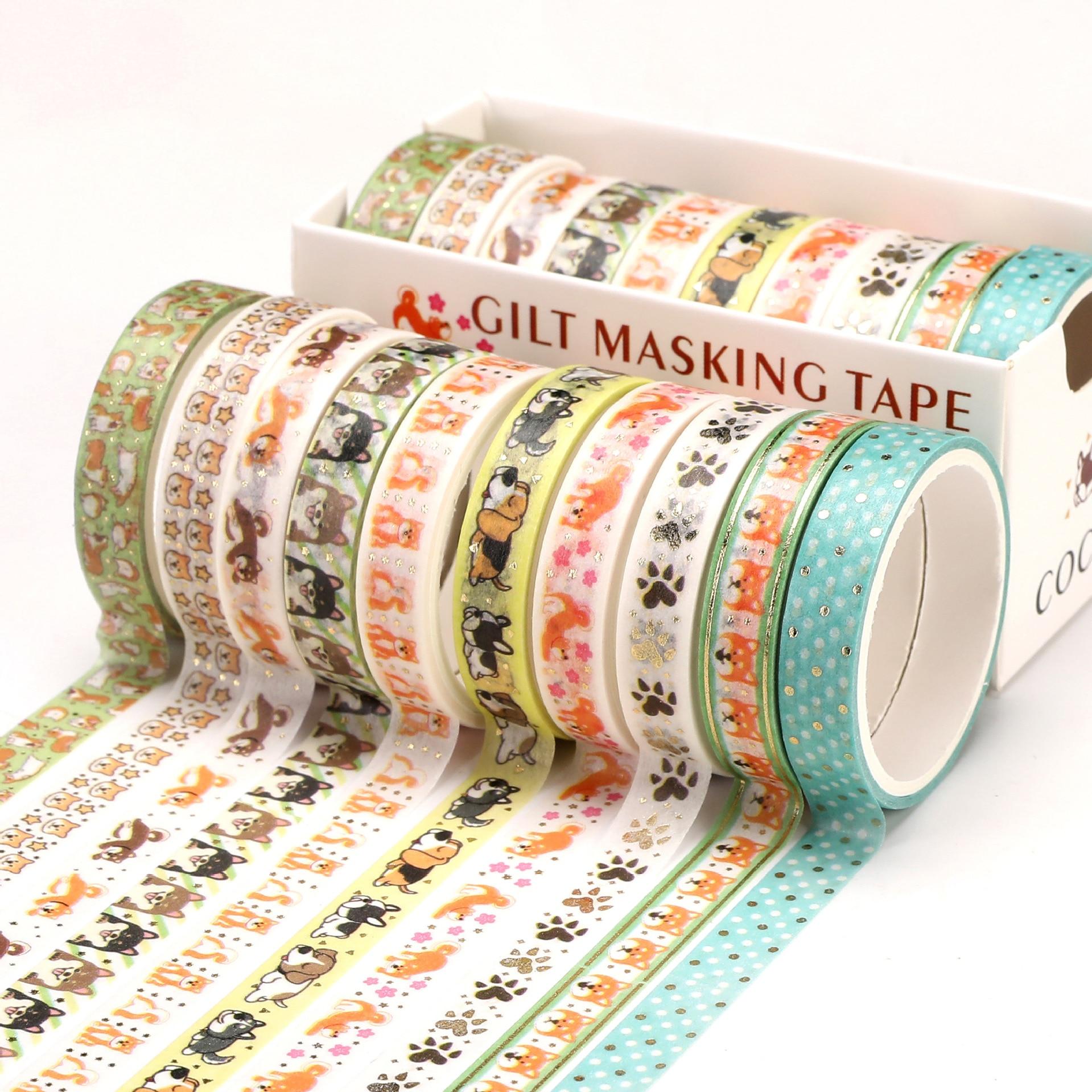10 Pcs/Set Gold Foil Washi Tape Cute Heart Masking Tape Decorative Adhesive Tape Sticker Scrapbooking DIY  Stationery 5