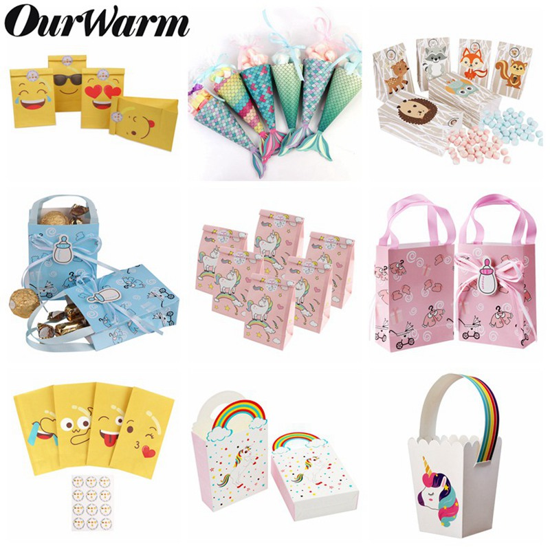 OurWarm Paper Gift Bag Wedding Candy Bag Baby Shower Birthday Unicorn Mermaid Party Favors Decoration Candy Bags Box
