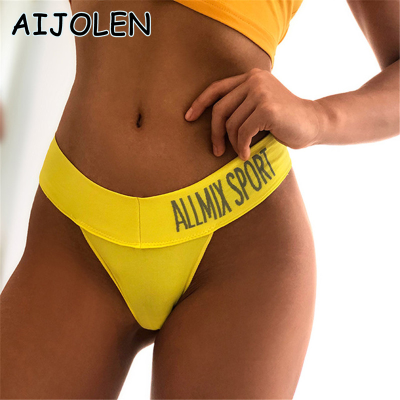 AIJOLEN Women's Underwear Sexy Seamless Sports Underpants Fitness Letter Deep V Thong and G String Wide Low Waist Briefs Panties