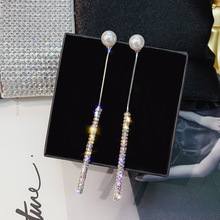 S925 Silver Pearl rhinestone earrings simple temperament fashion long super fairy crystal female