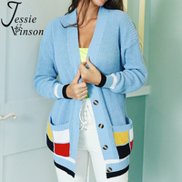 Jessie Vinson Long Sleeve Plaid Pocket Blue Cardigan Sweater Women Casual Loose V neck Button Knitted Cardigan Autumn Winter