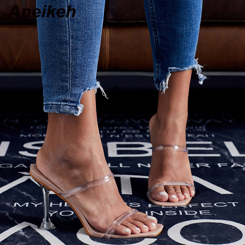 Aneikeh NEW Summer PVC Jelly Slippers Open Toe High Heels Women Transparent Perspex Slippers Shoes Heel Clear Sandals Size 35-42