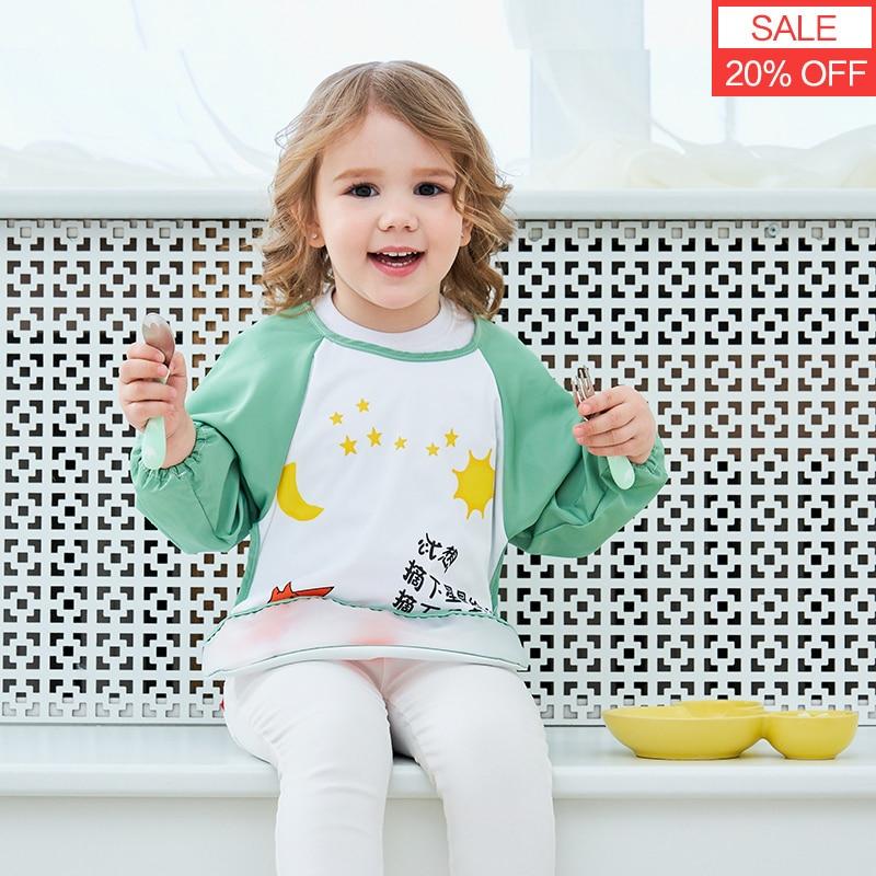 Милые детские нагрудники, водонепроницаемый фартук с длинными рукавами, детский нагрудник для кормления, одежда для детей, мягкая одежда дл...