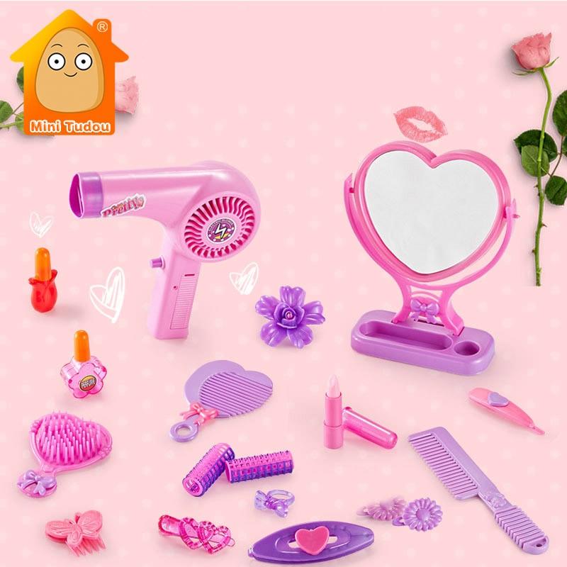 Girls Pretend Play Beauty Toy Cartoon Hair Dryer Makeup Salon Tool Plastic Mirror Hairdressing Gift Set Toys For Children