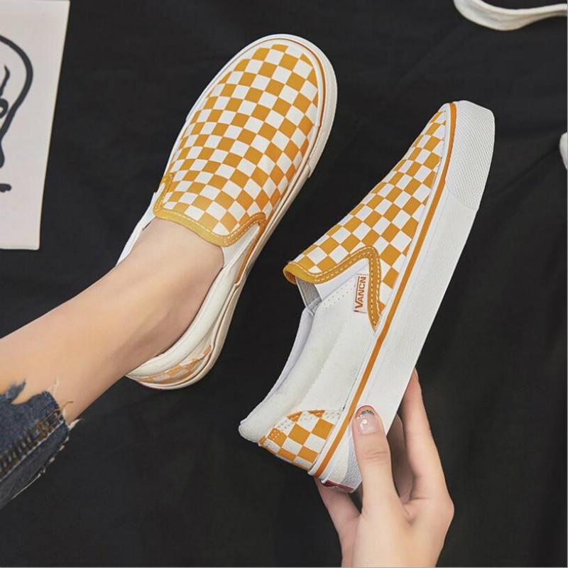 Spring/Autumn Women Flats Shoes Woman Canvas Vulcanize Shoes Plaid Fashion Lace-up Shallow Plus Size High Quality Ladies Shoes
