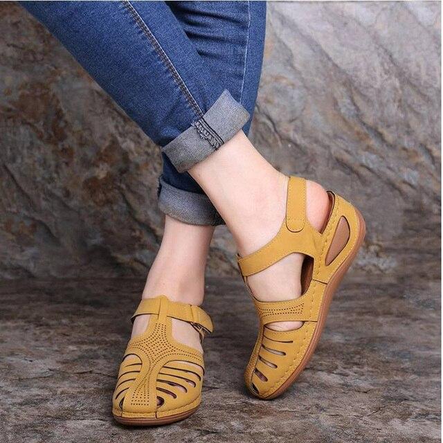 Sandalias Vintage de cuero de verano 2020 para mujer, zapatos de plataforma Retro para mujer, de costura informal, de velcro, para mujer, Tallas grandes 5
