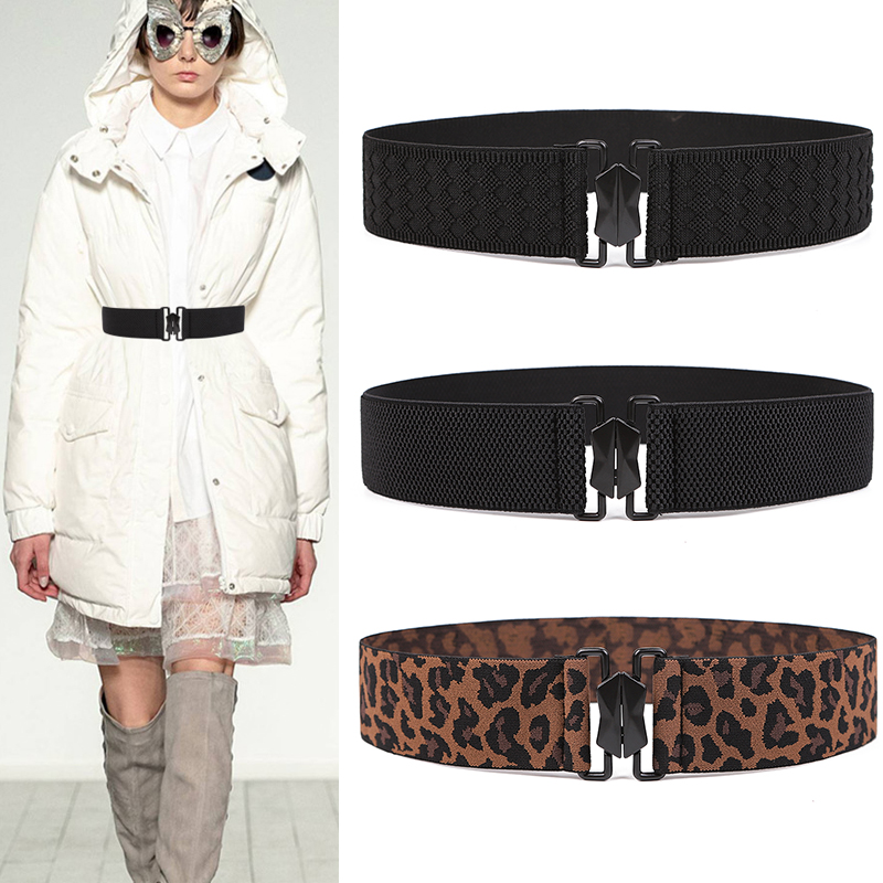 Anti Allergy Waistband Elastic Belts For Women Without Metal Security Outdoor Leopard Cummerbunds Dress Black Alloy Buckle Belt