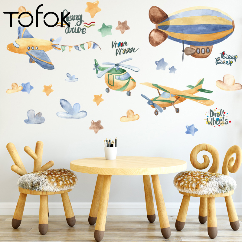 Tofok Hand Painted Airplane Stars Wall Sticker Kids Room Nursery Bedroom Living Room Wall Decal Wallpaper Poster Home Decor New image