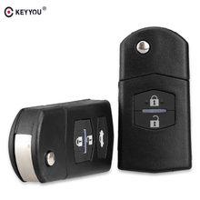 KEYYOU 2 boutons clé à distance housse coque gousset pliable avec lame non coupée pour Mazda 3 5 6 livraison gratuite