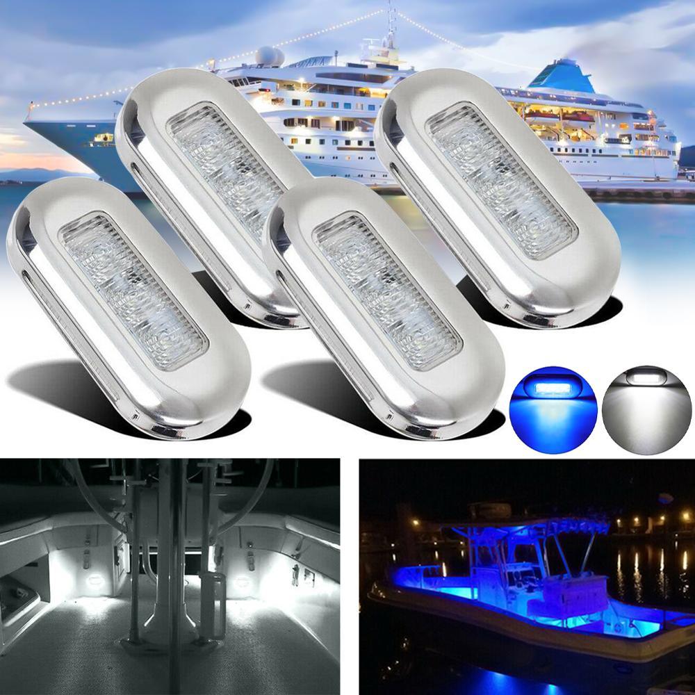 4pcs 3LED 12V Boat Stair Deck Side Marker Light Indicator LED Courtesy Lights Turn Signal Light Marine Boat Accessory Taillights