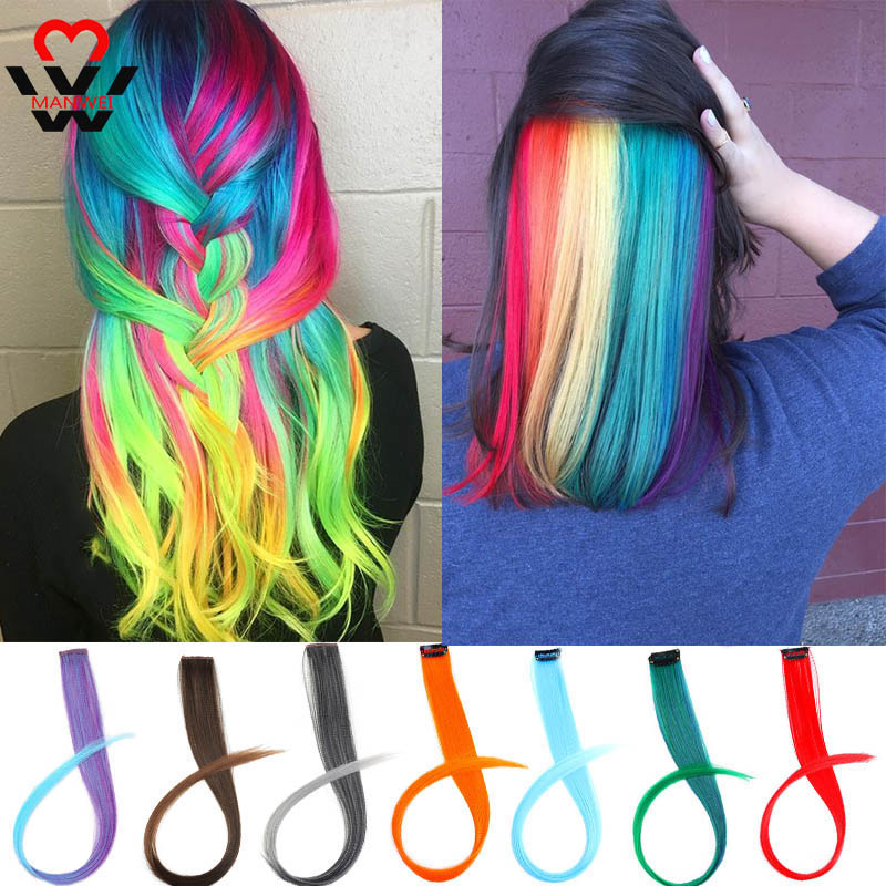 MANWEI Straight Fake Colored Hair Extensions Clip Rainbow Hair Streak Synthetic Pink Orange White Purple Hair Strands On Clips