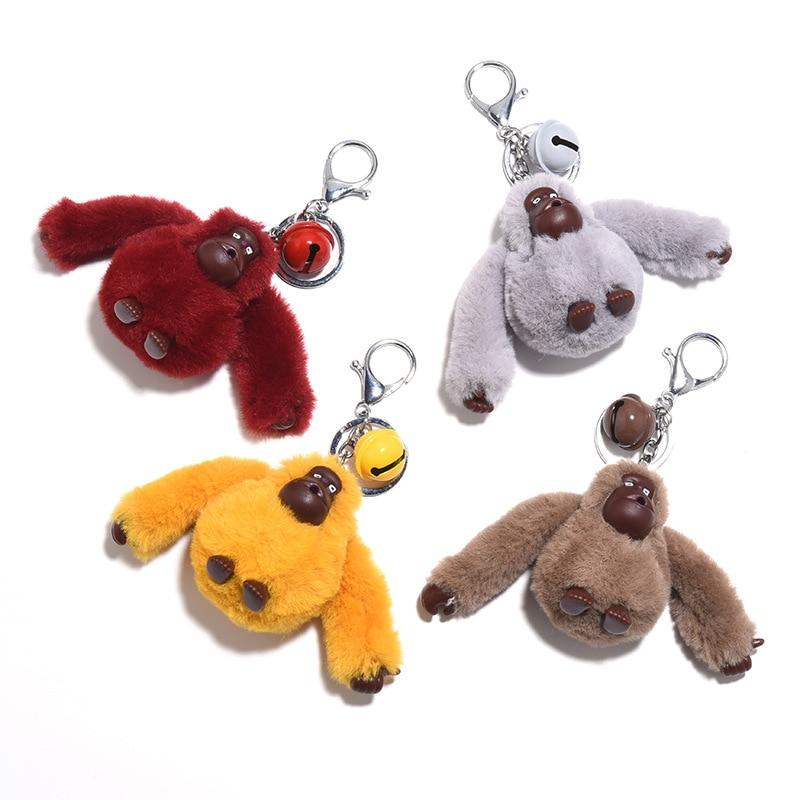 Fluffy Pompom Gorilla Keychain Cute Plush Doll Animal Key Chain Faux Fur Pom Pom Car Key Ring Trinket Bag Charms Pendant Jewelry