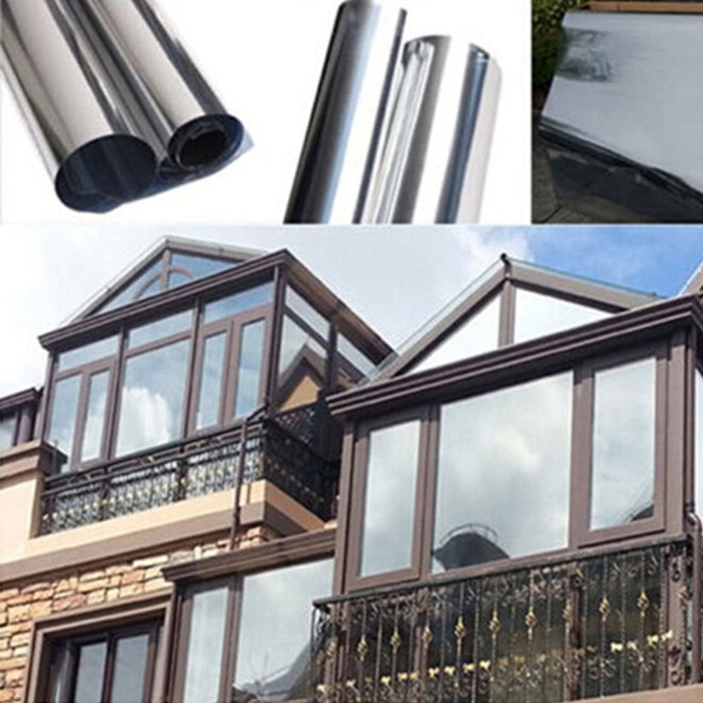 Waterproof Window Films 1m/2m*50cm Silver Wall Sticking Office Home Bedroom Bathroom One Way Mirror Insulation Glass Stickers