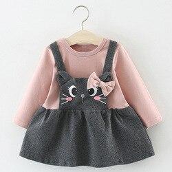 NEW Newborn Infant Baby Girls Kids Autumn Winter Dress Kids Christmas Floral Cherry Dot Cotton Bow Dress Outfits Set Clothes