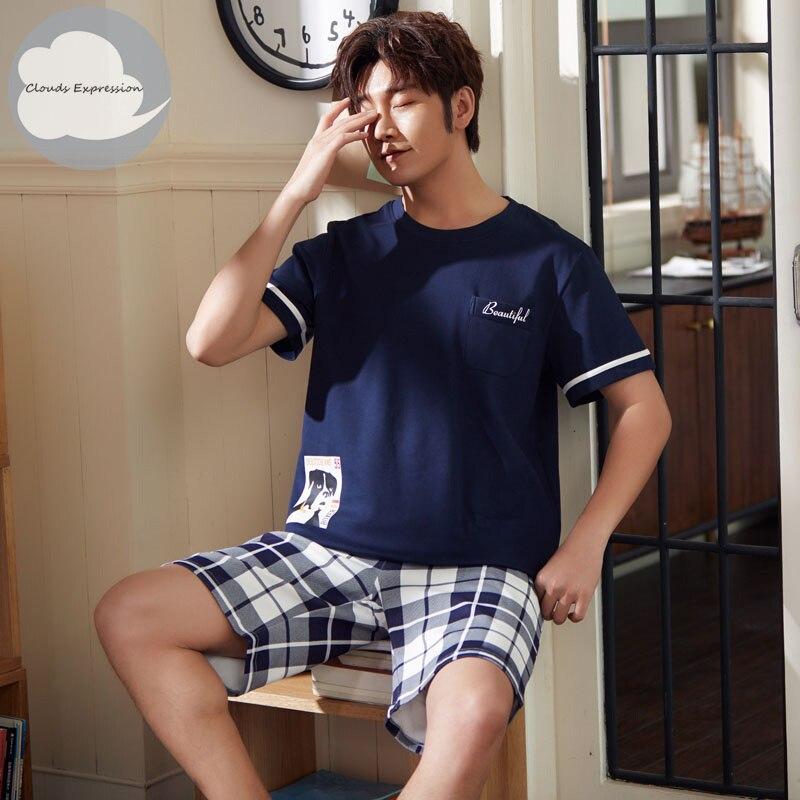 Brand New Knitted Cotton Short Sleeved Men Pajamas Sets Male Pajama Set Letter Pajama For Men Sleepwear Suit Homewear Size XXXXL