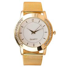 Luxury Fashion Clock Watch Women Rhinestone Inlaid Round Dial Mesh Band Analog Quartz Wrist Watch reloj mujer relogio feminino
