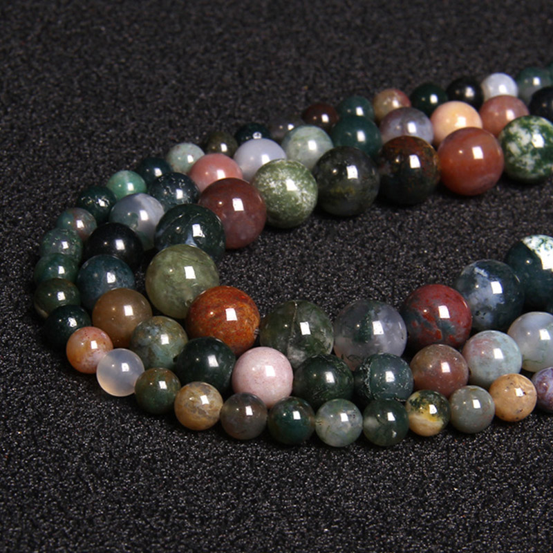 Natural Stone Indian Agates Beads Green Round Polished Loose Stone Beads for Jewelry Making DIY Bracelet Necklace 4 6 8 10 12MM