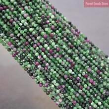 Perles rondes en jaspe de zoissite pour la fabrication de bijoux, perles d'espacement en pierre naturelle à facettes de 2mm/3mm, collier 15''