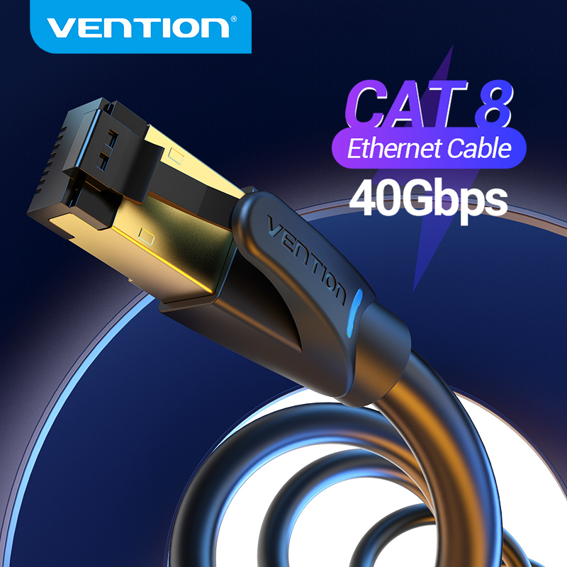 Vention Ethernet Cable RJ45 Cat8 Lan Cable SFTP 40Gbps 2000MHz RJ 45 Cat 8 Network Patch Cable for Router Modem Cable Ethernet