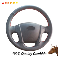 Hand stitched Black Genuine Leather Steering Wheel Cover for Kia Sportage 2 2005 2010 2009 Sportage|Steering Covers|   -
