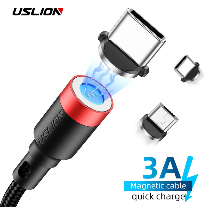 USLION LED Magnetic Cable Micro USB Type C For iPhone Lighting Cable 2M 3A Fast Charging Wire Type C Magnet Charger Phone Cable|Mobile Phone Cables|   - AliExpress