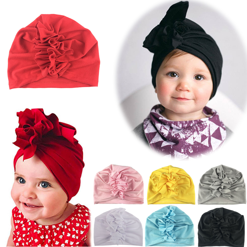 2020 New Folds Flower Girl Headband Newborn Infant Toddler Kid Baby Girl Turban Soft Cotton Beanie Hat Cap Photo Props