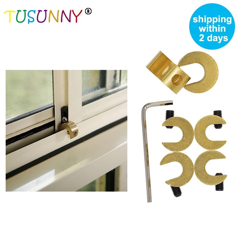 TUSUNNY 4 Pcs Safety Sliding Brass Window Safety Lock Baby Safety Sliding Window Security Lock For Child Protection On Windows