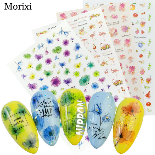 Фото morixi nail art sticker big size back glue adhesive for manicure цена