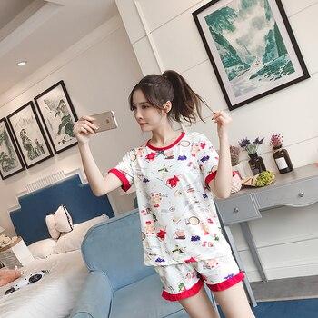 Hot sale Summer Shorts Pajama Sets for Women Short Sleeve Sleepwear Cute Girls Cartoon Pyjama Homewear Pijama Mujer Home Clothes 22