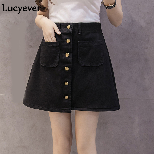 Lucyever Denim women mini skirt summer vintage high waist Korean single button pockets blue jeans A line ladies saia jupe femme