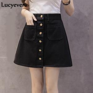 Image 1 - Lucyever ינס נשים מיני חצאית קיץ בציר גבוה מותן קוריאני יחיד כפתור כיסים כחול ג ינס אונליין משרד גבירותיי saia 2019