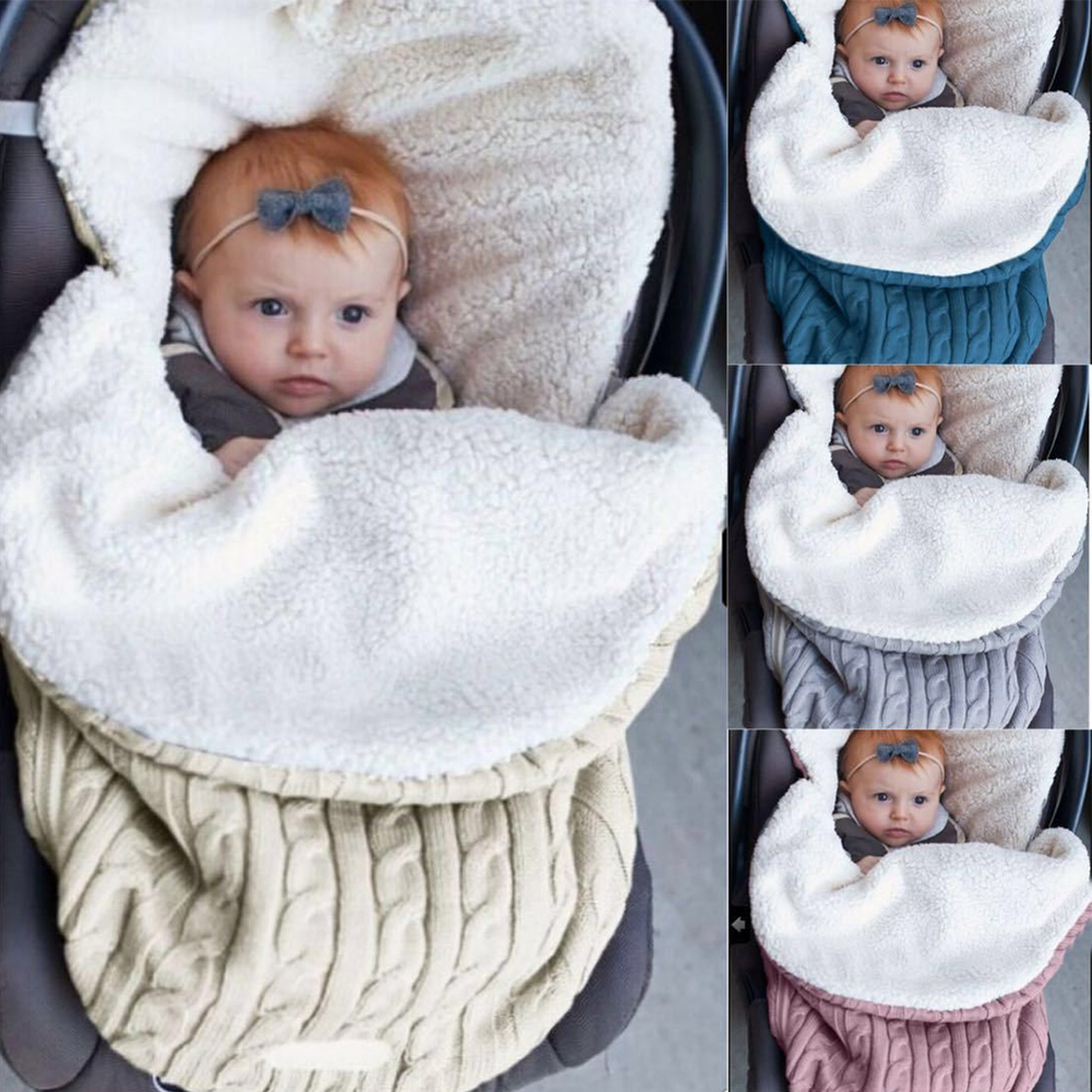 Sleeping Bags For Newborns Winter Stroller Envelope Soft Infant Knit Swaddle Wrap Blanket  Cute Baby Winter Warm Sleeping Bags