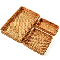 HLZS Set Of 3 Handmade Rattan Rectangle Serving Tray Wicker Serving Organizer Tabletop Fruit Platter