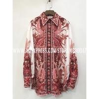 2020 lapel silk ladies shirt ladies bohemian shirt elegant summer long sleeve top Women's new High quality casual shirt