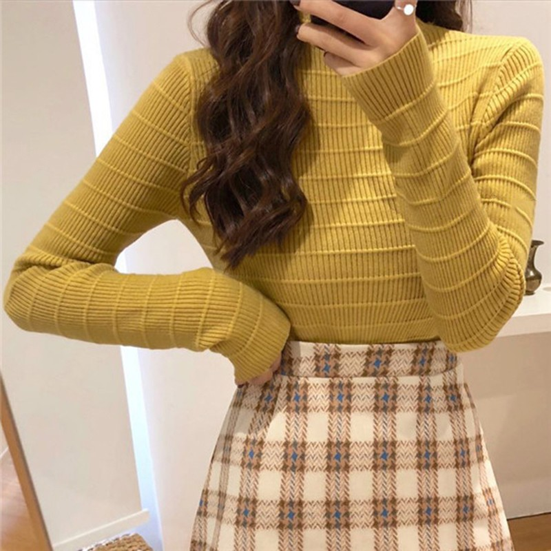 DeRuiLaDy 2019 Fall Winter Casual Turtleneck Long Sleeve Sweater For Women Pullover Womens Slim Knitted White Sweater Top Jumper