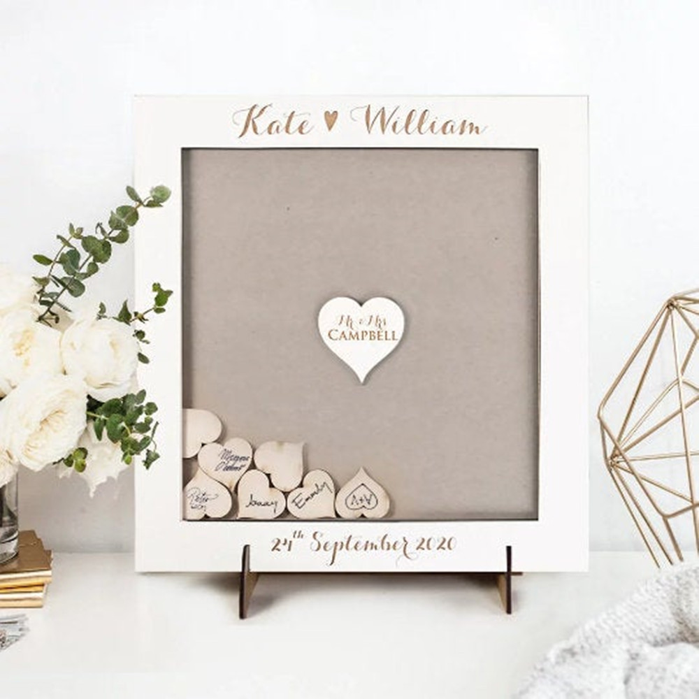 Custom Wooden Hearts Engraved Wedding Guest Book Rustic Guestbook Drop Top Box Frame Shadow Box Alternative Hen Party Wishes Box Signature Guest Books Aliexpress