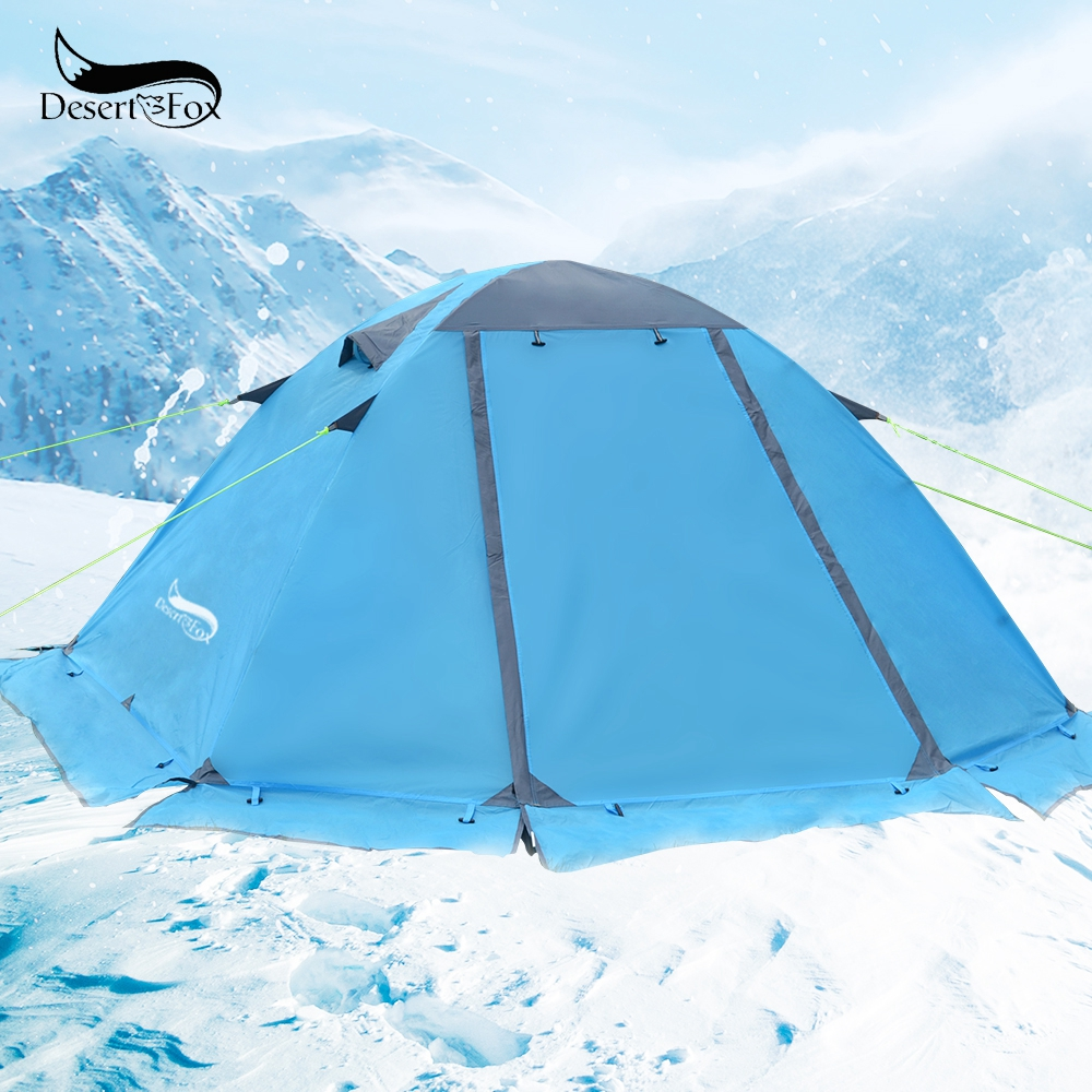 Desert&Fox Winter Tent With Snow Skirt 2 Person Aluminum Pole Tent Lightweight Backpacking Tent For Hiking Climbing Snow Weather